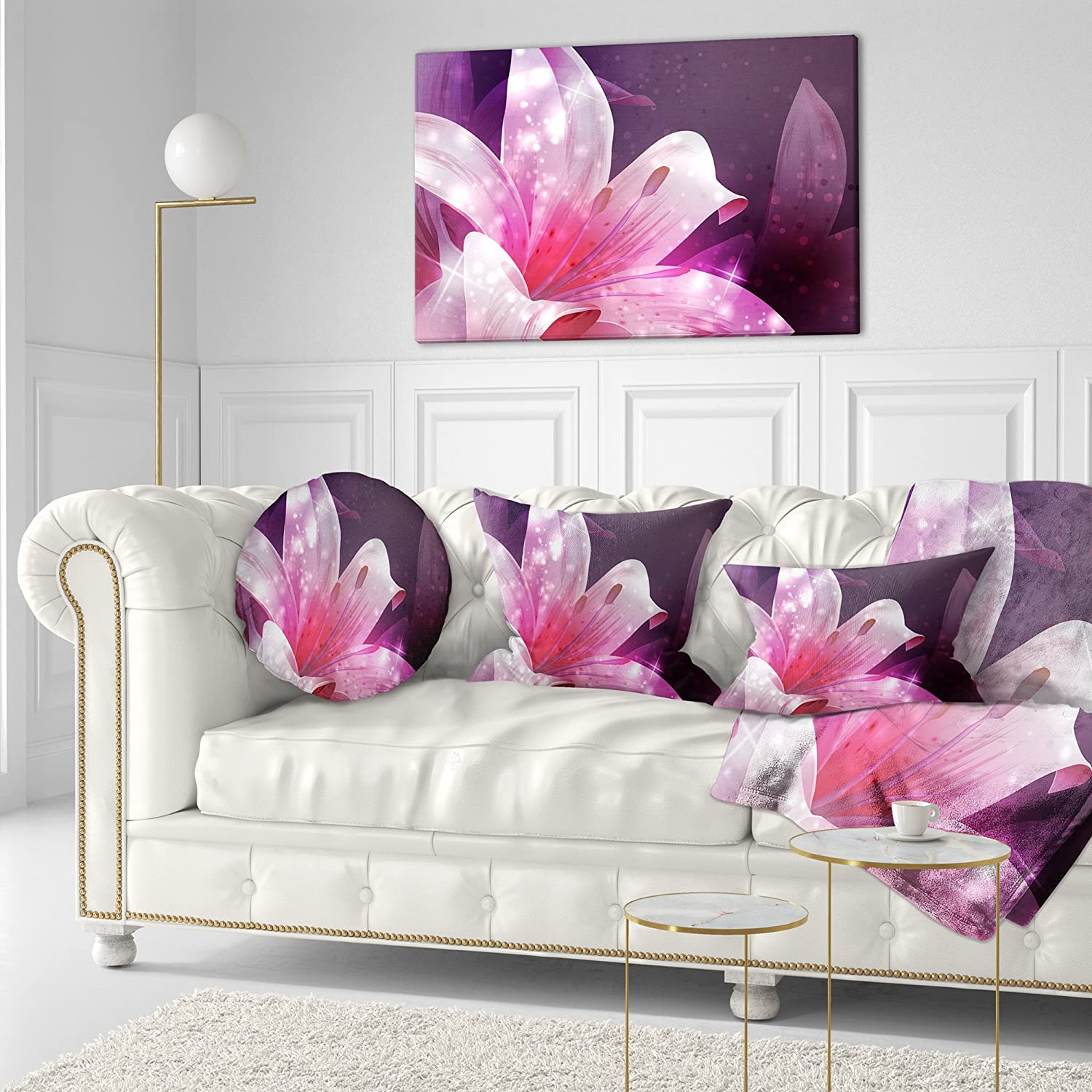 Insert Printed On Both Side 16 Designart CU8123-16-16-C Shining Pink Fractal Flower Floral Round Cushion Cover for Living Room Sofa Throw Pillow