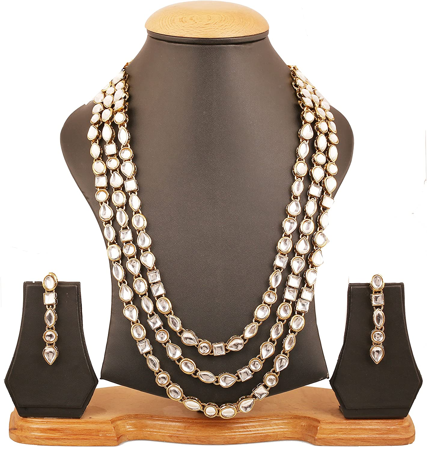 Touchstone Contemporary Kundan Collection Indian Bollywood Classic Elite Look Royal Mughal Craftsmanship Triple Layer Long Kundan polki Look Bridal Designer Jewelry Necklace Set for Women in Gold