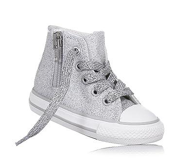 fbd3b5d1b4ab2 Converse Scarpe Sneakers Chuck Taylor Side Zip Hi Bambine Ragazze Grigio  761008C