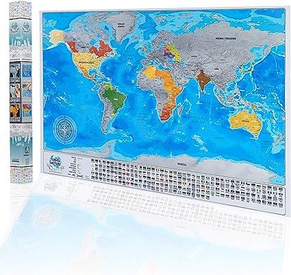 Cartina Mondo Gratta.Gratta Mappa Viaggio Con Bandiere Personale Mappa Del Mondo Multicolore 84x57x2 Cm Mappa Con Bandiere Citta Profondita Dei Mari Made In Eu Amazon It Cancelleria E Prodotti Per Ufficio