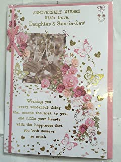 Daughter son in law anniversary greeting card by carte blanche anniversary wishes with love daughter son in law card wedding anniversary white m4hsunfo