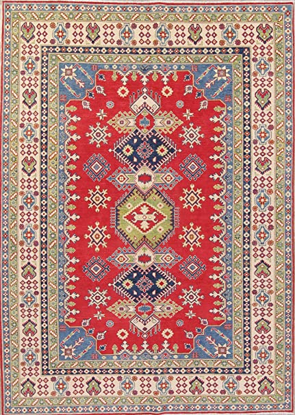 1a41e74a66 Image Unavailable. Image not available for. Color: Kazak Geometric Hand  Knotted Wool Pakistan Oriental Traditional Area Rug Carpet ...