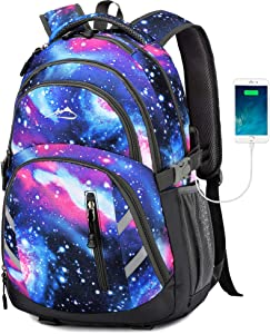 Galaxy Backpack Bookbag for School College Student Business Travel with USB Charging Port Fit Laptop Up to 15.6 Inch Luggage Chest Straps Night Light Reflective(Galaxy)