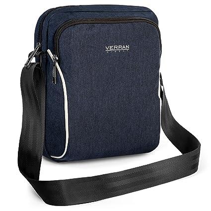 Verran Bandolera Hombre Vintage Bolso Hombre Bandolera Resistente al Agua y los Arañazos con Soporte de iPad y Tableta 26x6x21 centímetro Azul Marino