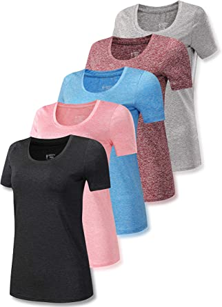 Amazon.com: Set of 5 Women's Heathered Active Scoop Neck T Shirts, Short  Sleeve Workout Tops for Gym and Yoga: Clothing