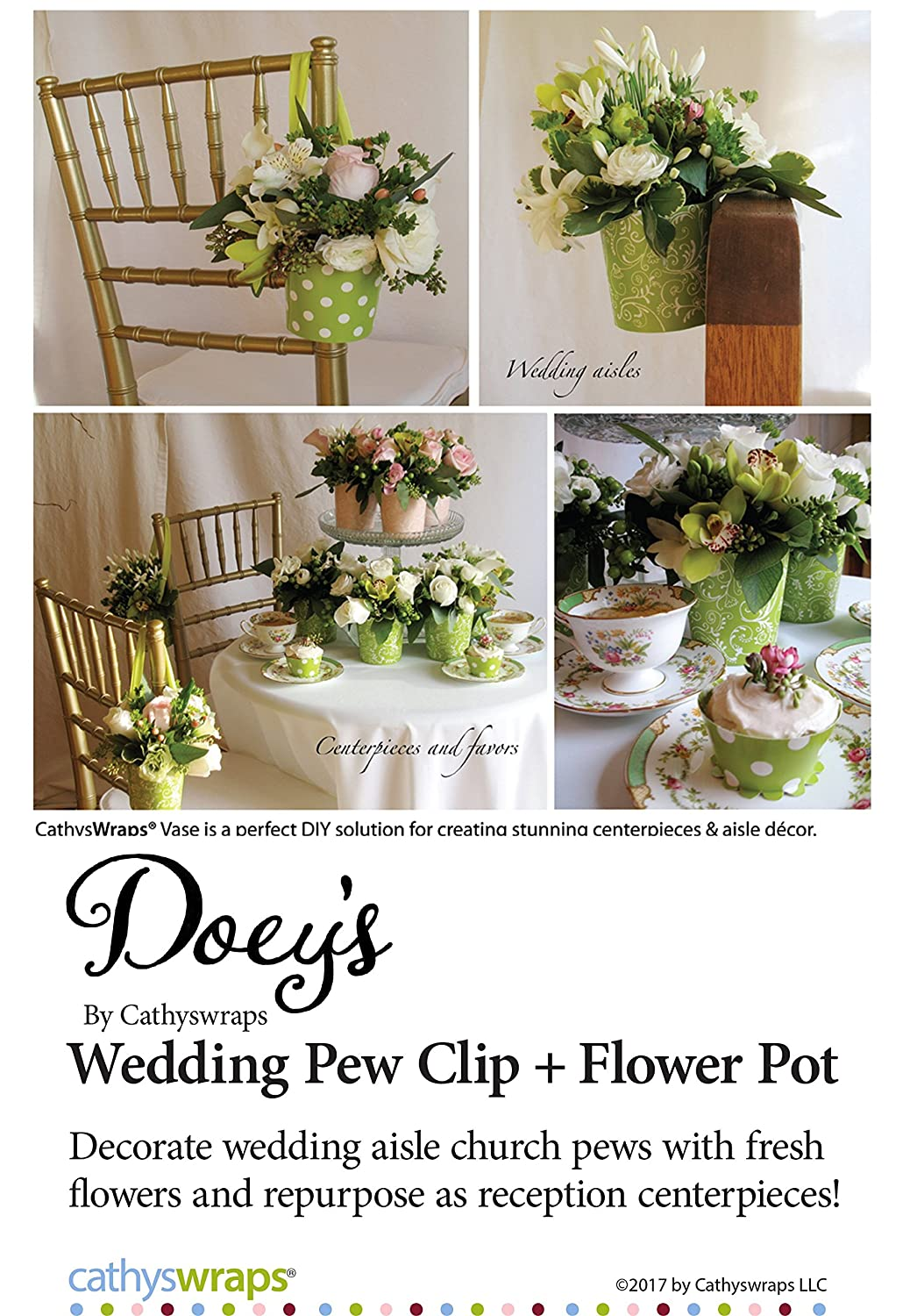 Amazon.com: Doey\'s Wedding Pew Clips and White Plastic Flower Pot ...