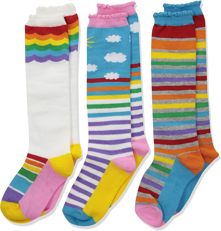 Jefferies Socks Girls' Little Colorful Rainbow Knee High Socks 3 Pair Pack: Clothing