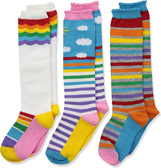 Jefferies Socks Girls Little Colorful Rainbow Knee High Socks 3 Pair Pack