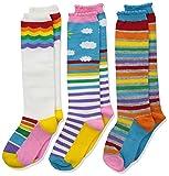 Jefferies Socks Girls' Little Colorful Rainbow Knee High Socks 3 Pair Pack, Small