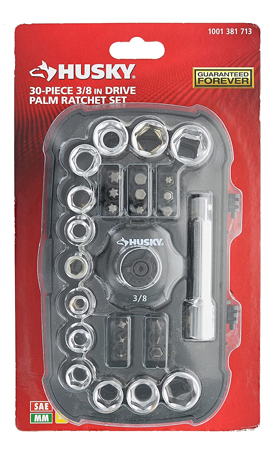 Husky HPR30PC 30-Piece 3/8 Inch Drive Palm Ratchet Set with SAE and Metric Units