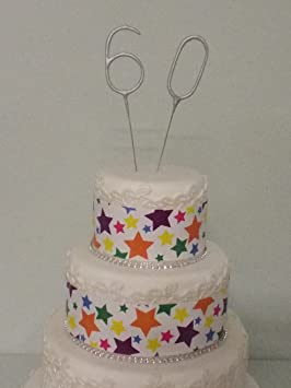 Sparkler Sparkling Number Birthday Cake Candles Age Aged 60 60th