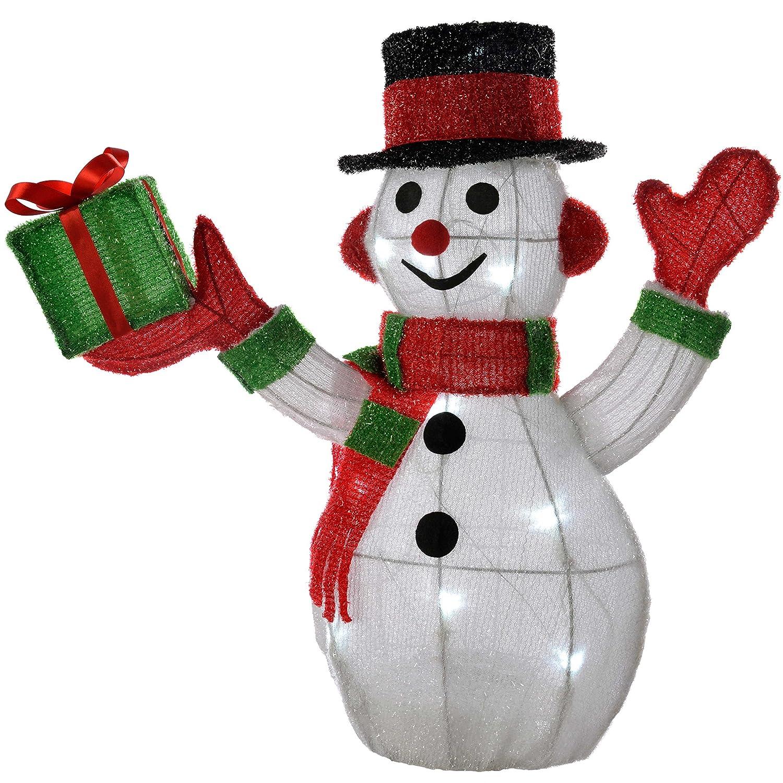 WeRChristmas 55 cm PreLit Tinsel Snowman Figurine 20 White LED Lights Christmas Decoration 42157003