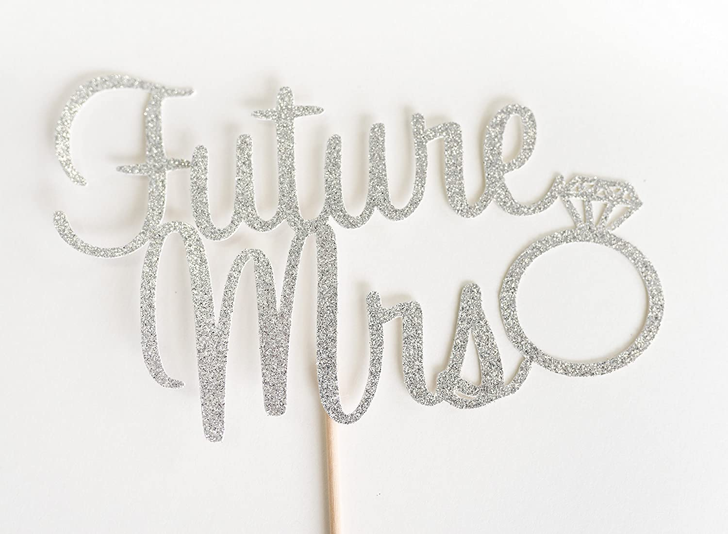 Silver Glitter Future Mrs Script Cake Topper, Bridal Shower, Engagement Party, Bachelorette, Stagette, Ring