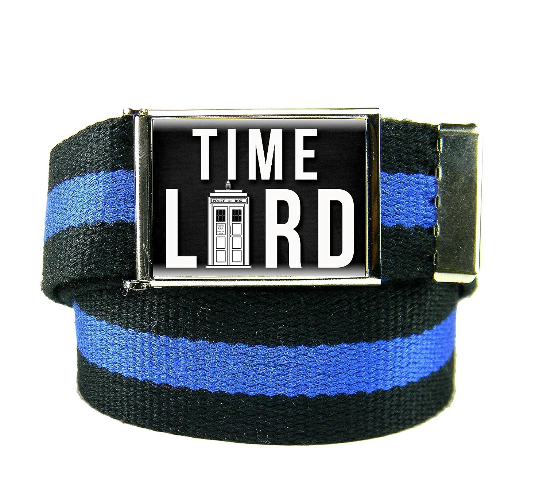 Time Lord Mens Flip Top Bottle Opener Belt Buckle with Canvas Web Belt XXX-Large Black and Blue Stripe