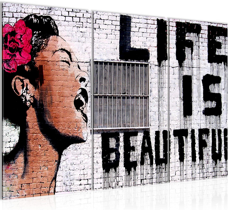 WANDBILDER Life is Beautiful Banksy Street Art VLIES LEINWAND BILD XXL BILDER