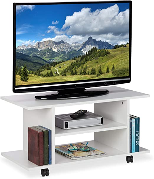 Relaxdays Mueble TV Ruedas, 4 Compartimentos Abiertos, Mesa ...