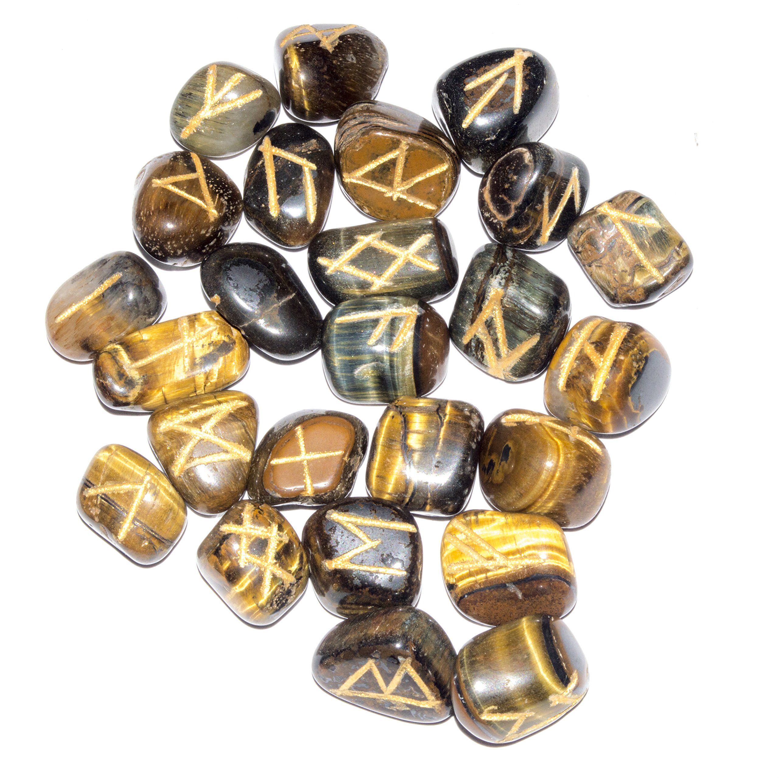 Crocon 25 Pcs Tiger Eye Rune Stones Set Reiki Healing Engraved Gemstone Kit Energy Generator for Chakra Balancing Aura Cleansing & EMF Protection Size 15-20 mm
