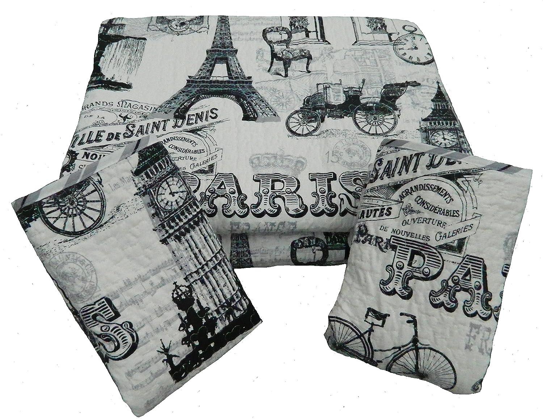 Amazon 5 Piece Vintage Paris Quilt Set With Decorative Pillows Queen Size Home Kitchen