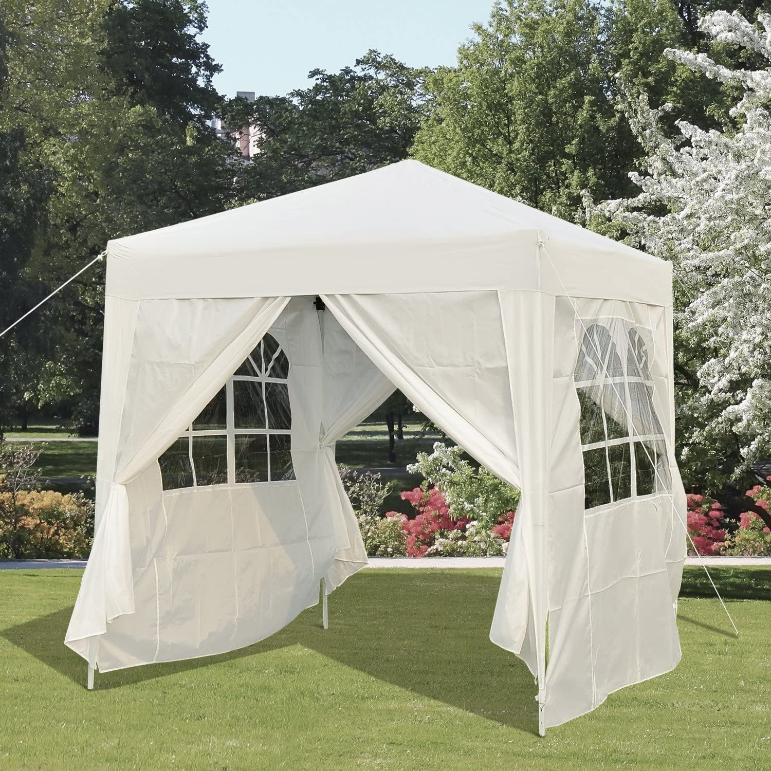 Outsunny 6.6x6.6ft Pop Up Party Tent Outdoor Folding Gazebo Canopy with Side Walls Black