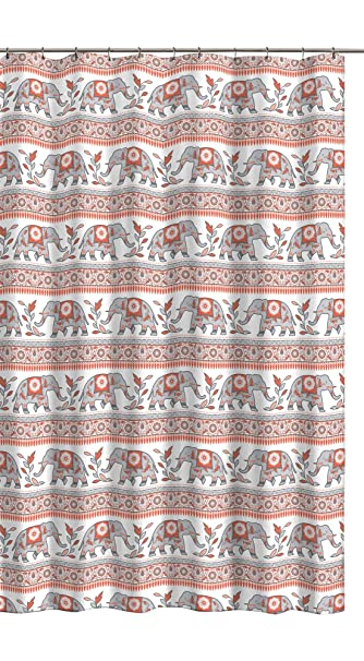 CHD Home Colorful Elephant Fabric Shower Curtain With Floral Border Designs Orange Peach