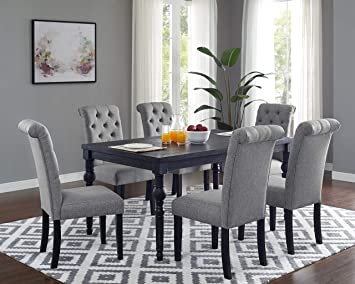 Amazon Com Roundhill Furniture Leviton Urban Style Counter Height Dining Set Table And 6 Chairs Grey Table Chair Sets