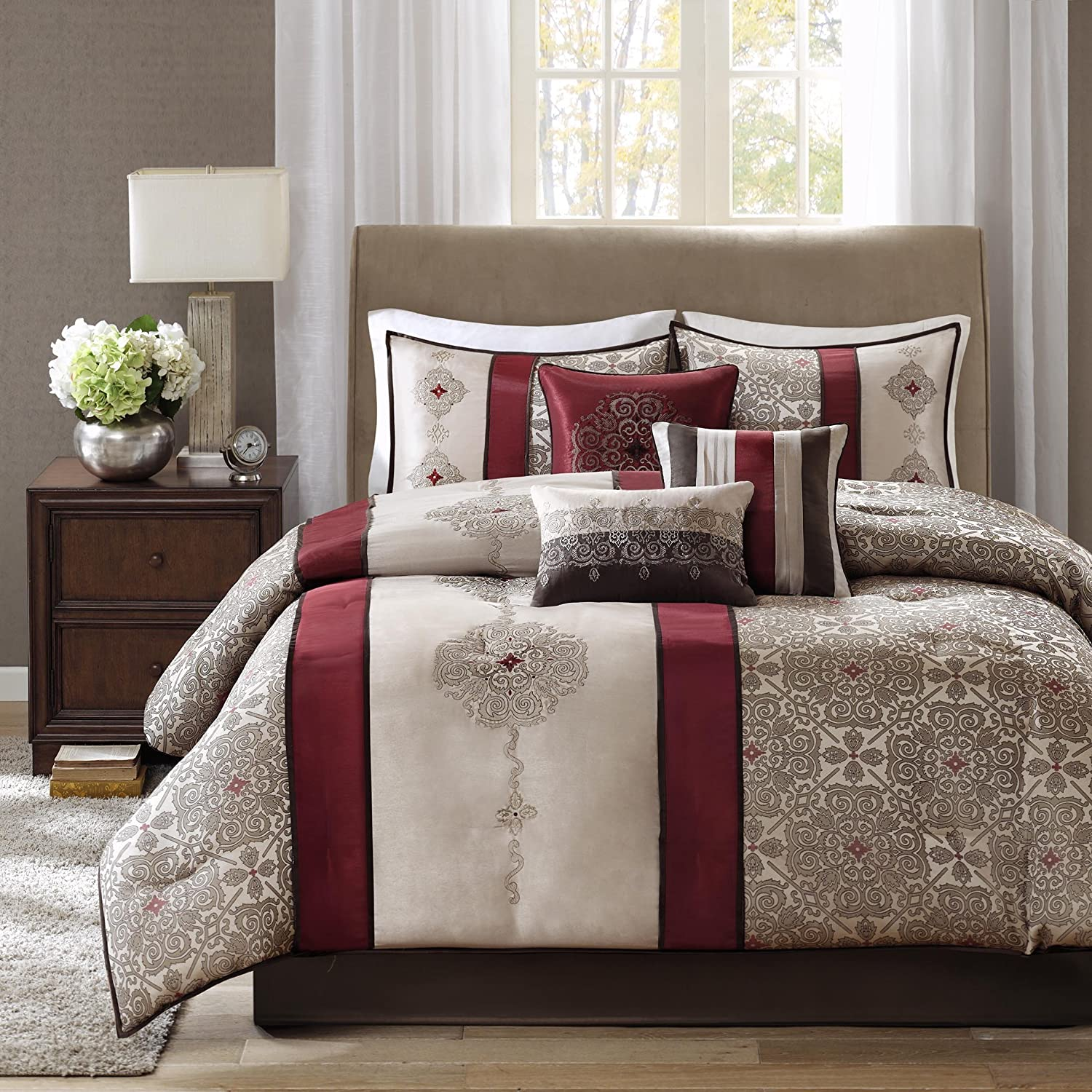Madison Park Donovan King Size Bed Comforter Set Bed in A Bag - Taupe, Burgundy, Jacquard Pattern