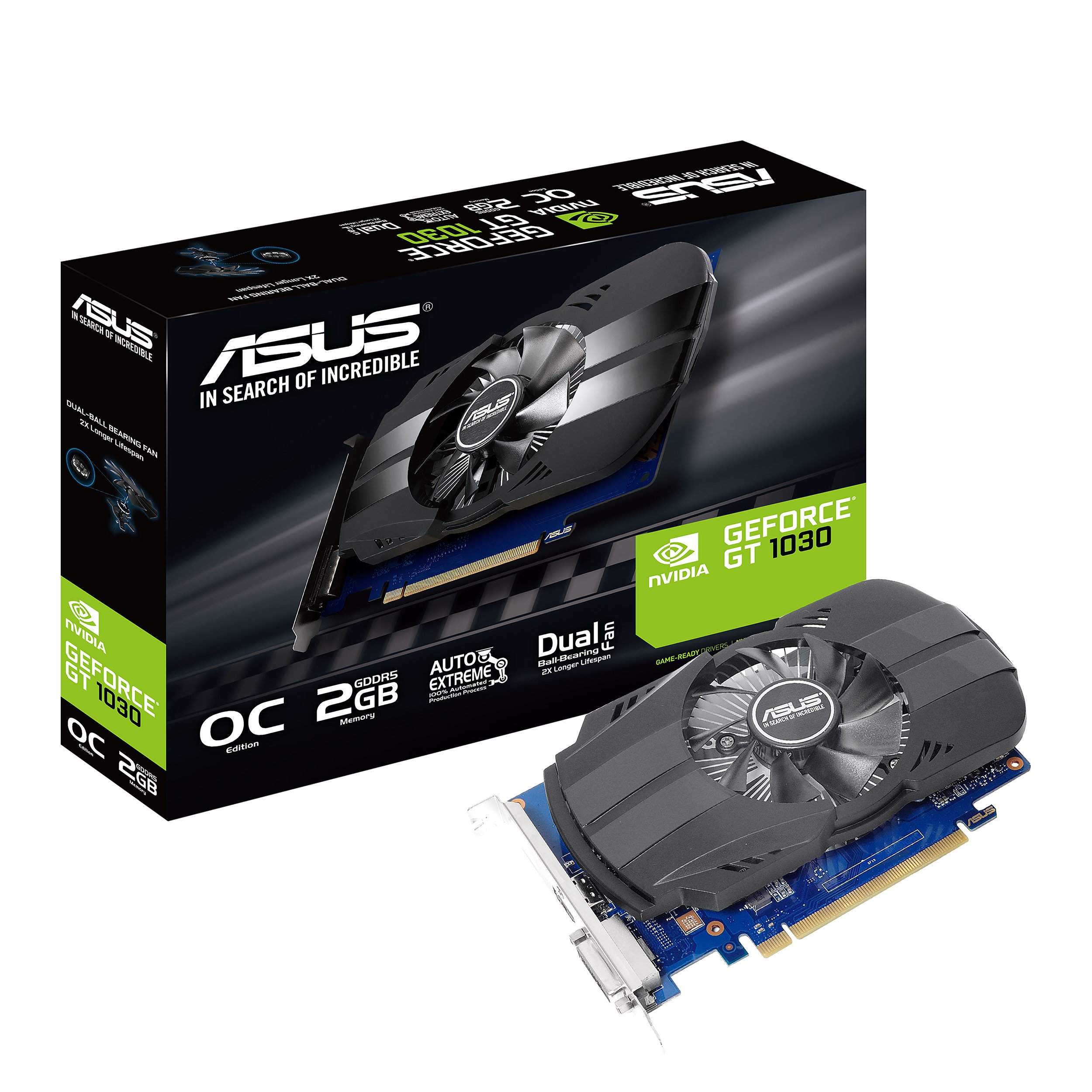 ASUS PH-GT1030-O2G GeForce GT 1030 2GB Phoenix Fan OC Edition HDMI DVI Graphics Card by Asus