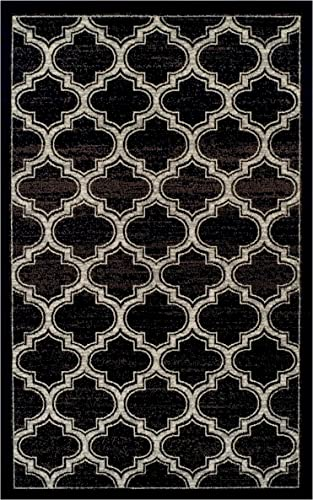 Superior Bohemian Trellis Collection Area Rug, 8mm Pile Height with Jute Backing, Chic Geometric Trellis Pattern, Fashionable and Affordable Woven Rugs – 8 x 10 Rug, Black