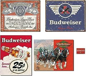 Bundle: Vintage Tin Budweiser Signs - Budweiser Historic Label, Budweiser 1936 Logo, Budweiser 25 Cent and Budweiser Clydesdales. Plus Budweiser Weathered Magnet.