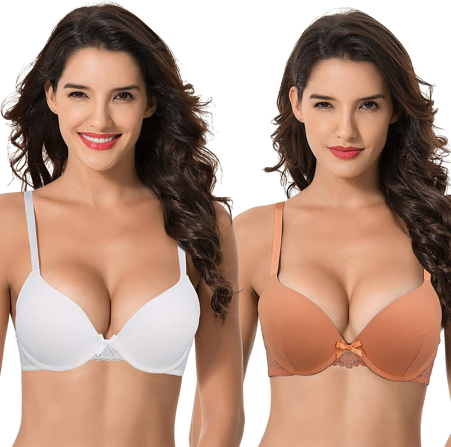Curve Muse Womens Ranking TOP19 Popular Plus Size Perfect Shape Cup Unde 1 Push Add Up
