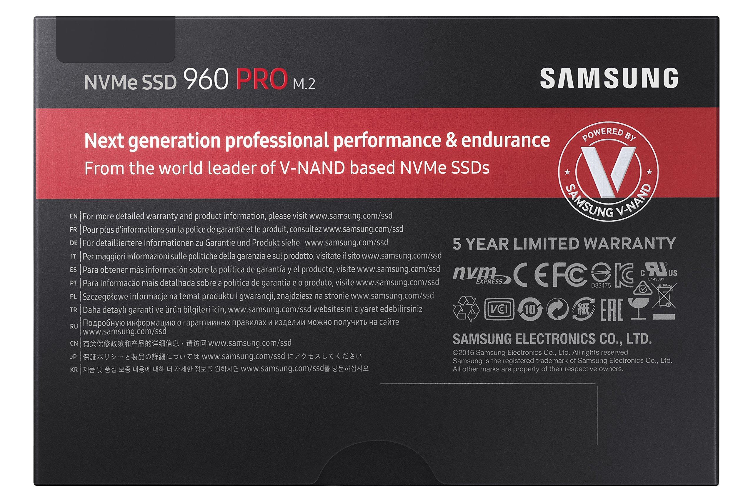 Samsung 960 PRO Series - 512GB PCIe NVMe - M.2 Internal SSD (MZ-V6P512BW) by Samsung (Image #6)