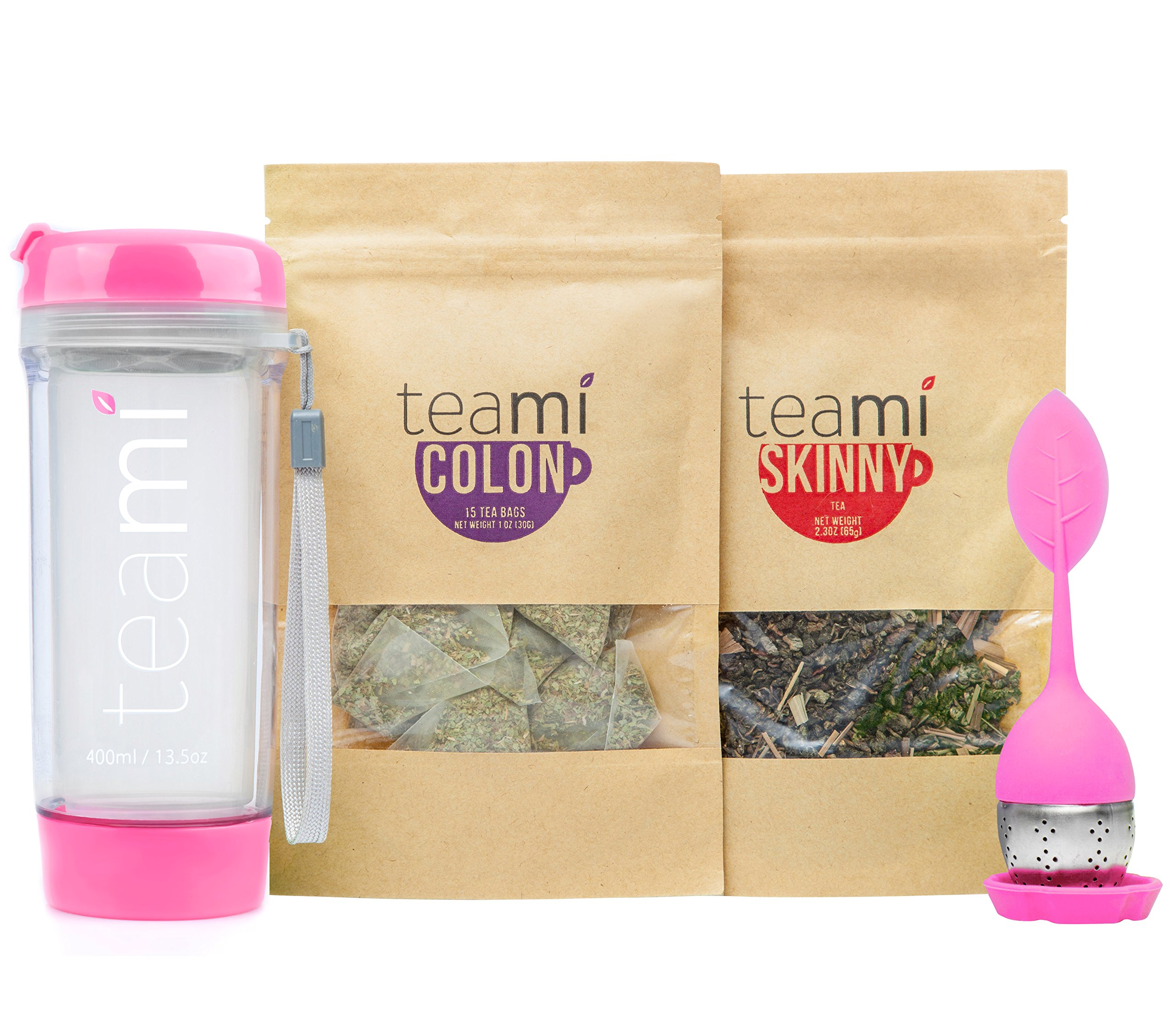 30 Day Detox Tea Kit for Teatox & Weight Loss to get that Skinny Tummy by Teami Blends | Our Best Colon Cleanse Blend to Raise Energy, Boost Metabolism, Reduce Bloating! (Pink Tumbler & Infuser)