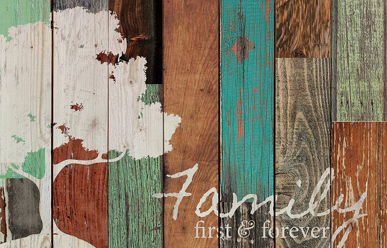 P. GRAHAM DUNN Family First & Forever Multicolor Tree Rustic 16 x 24 Wood Pallet Design Wall Art Sign