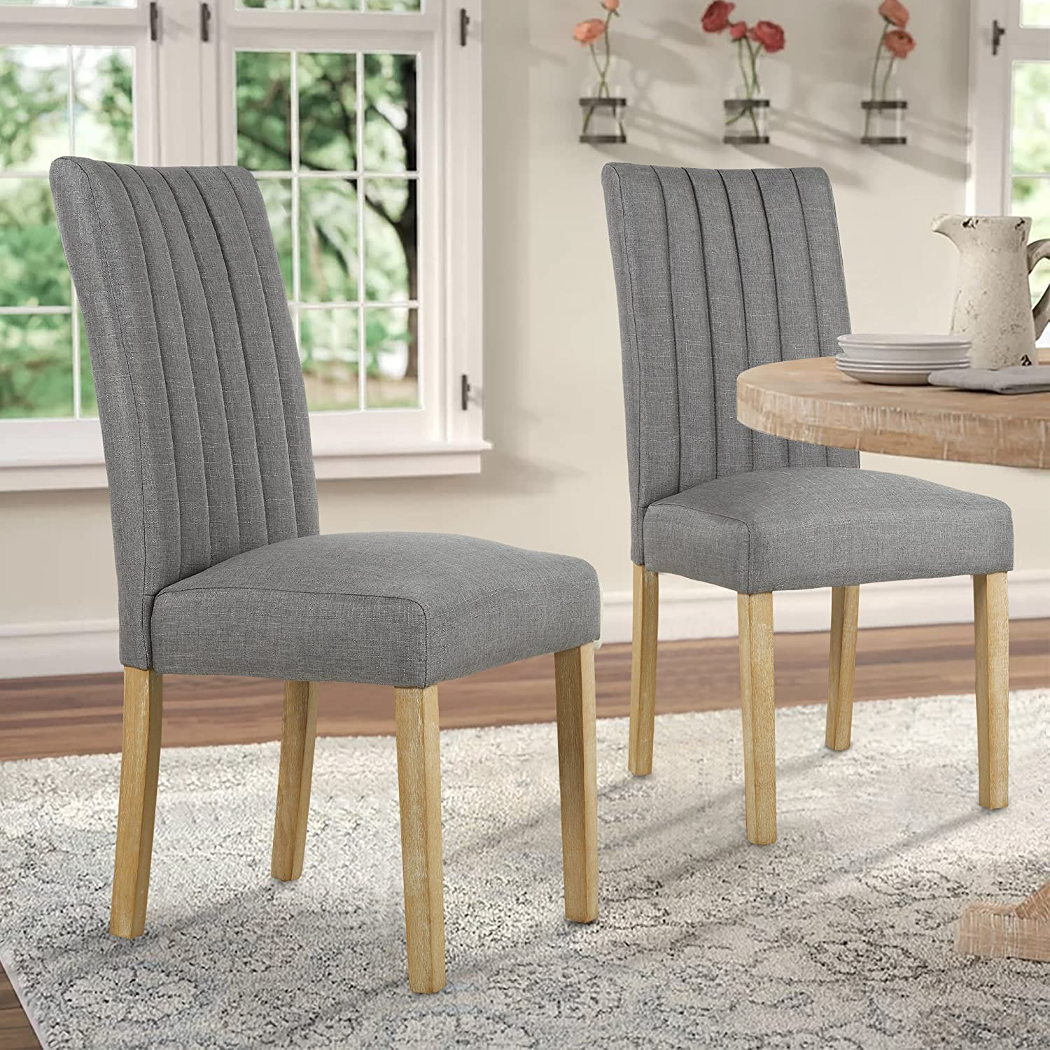 LSSBOUGHT Upholstered Fabric Parsons Dining Chairs, Set of 2, Gray