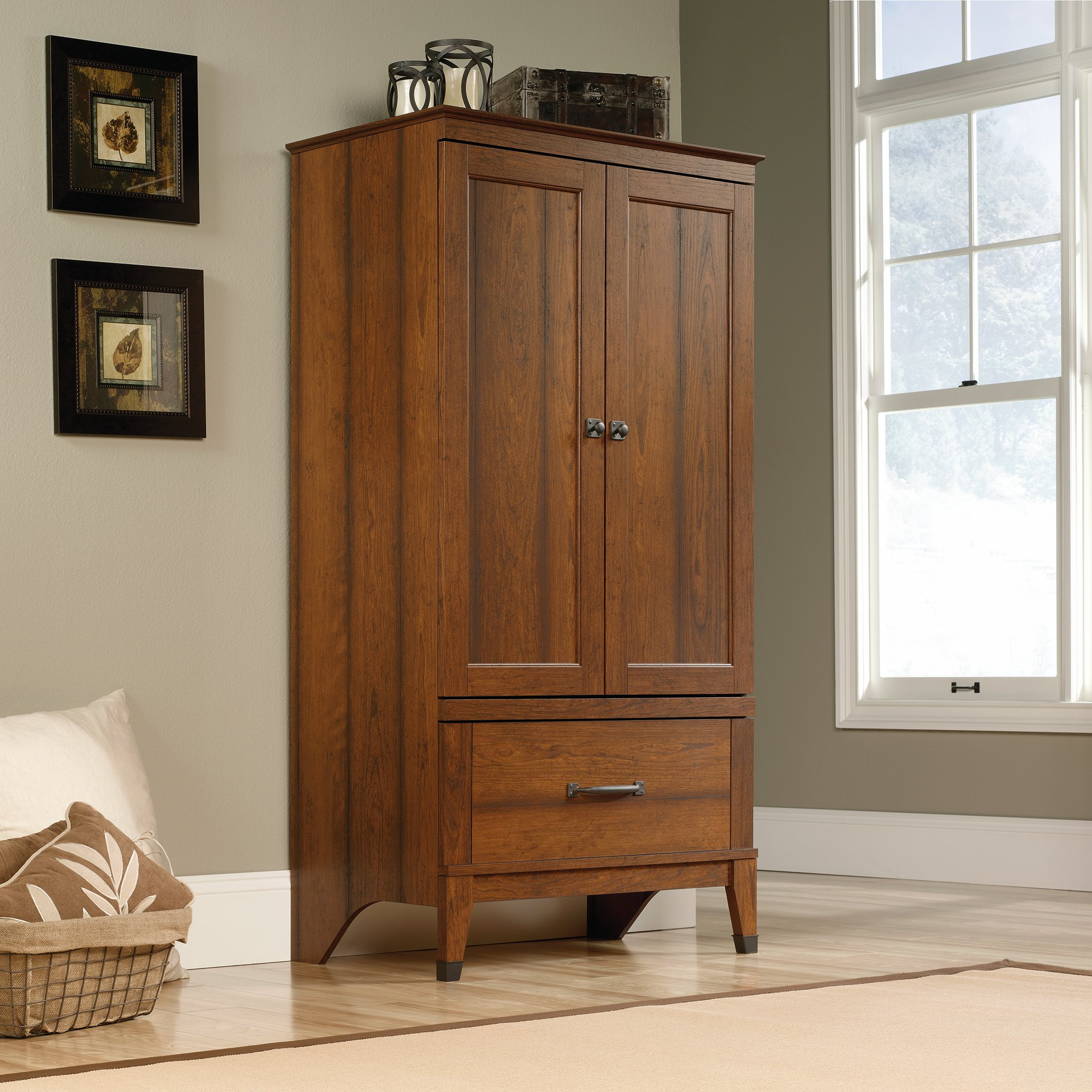 Details About Wide Armoire Wardrobe Closet Dresser Jewelry Clothing Wood  Drawer Tall Armoires