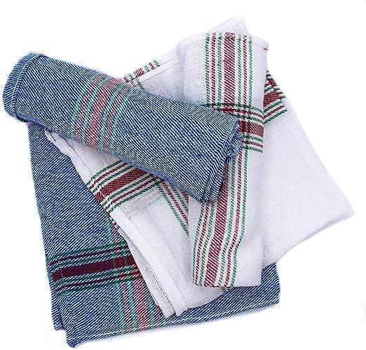 Montflé Trapos de Cocina 100% Algodón 4 Unidades Paños para Cocina Toallas secar absorventes [Blanco y Azul a Rayas] 43cmx43cm: Amazon.es: Hogar