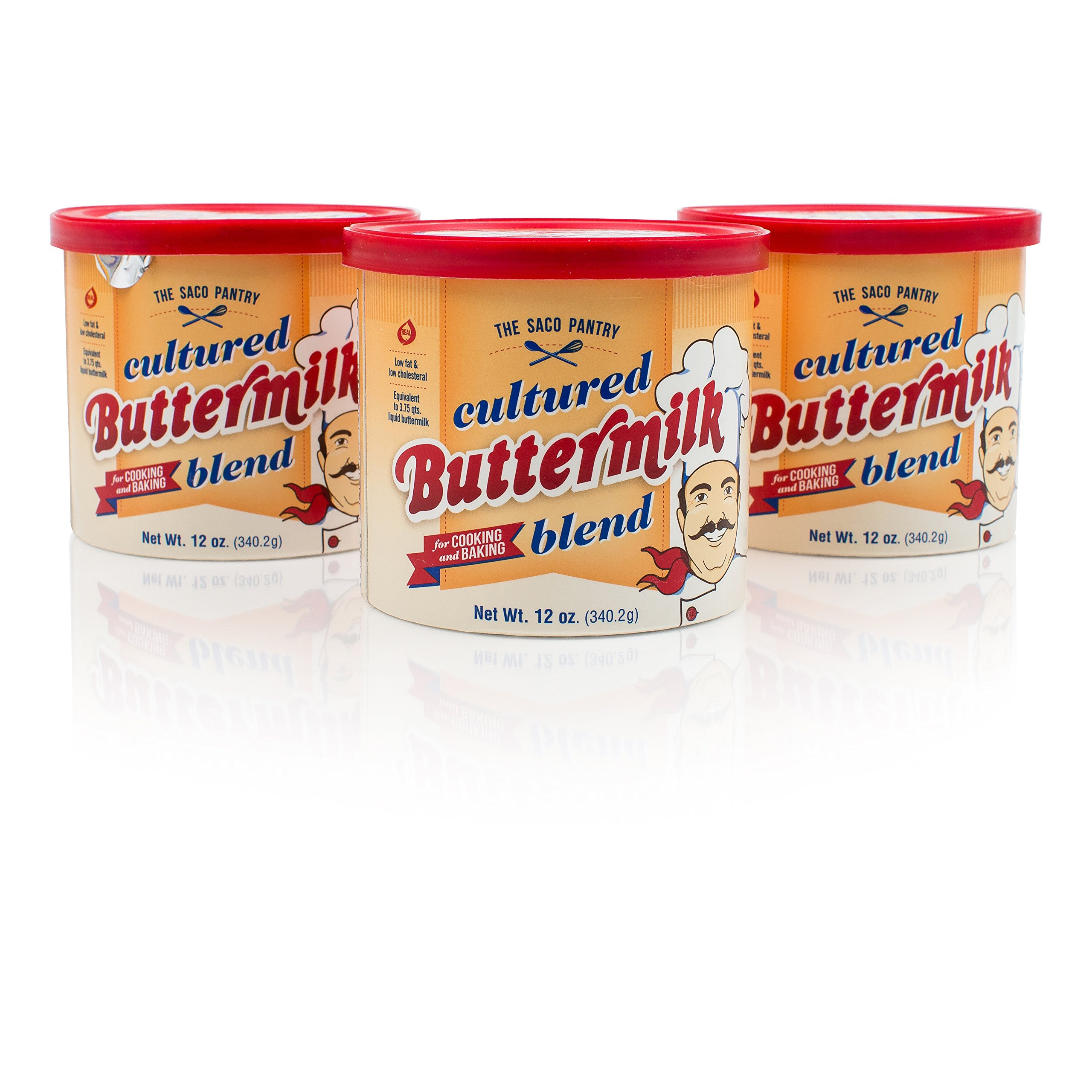 SACO Pantry Cultured Buttermilk Blend, for Cooking and Baking, Low-Fat, Low-Cholesterol, Gluten-Free, Nut-Free, 12oz, Pack of 3