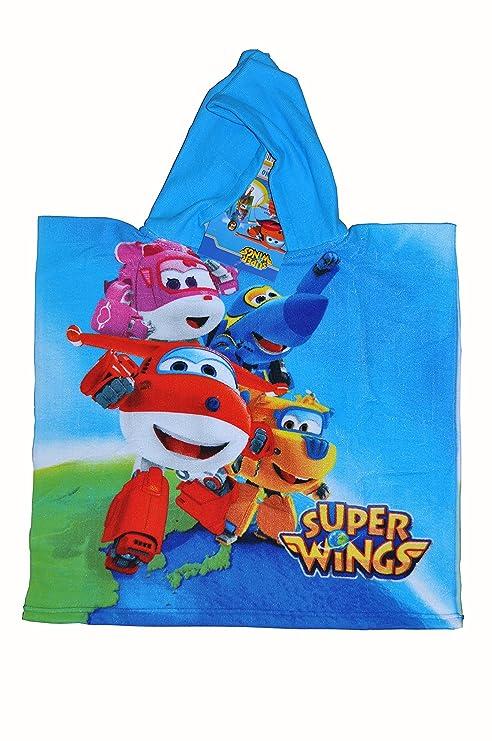 Super Wings - Poncho-toalla infantil microfibra con capucha, 50 x 100 cm toalla