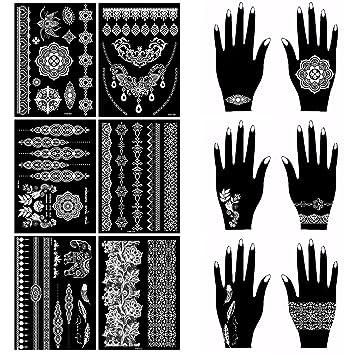 Oottati 6 Hojas Wedding White Lace Tatuaje Temporal Mandala Flor ...