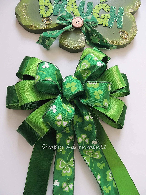 St Patricks Wreath Bow Kelly White Shamrock Wreath Bow Irish Wedding Decorations Kelly Green Shamrock Bow St Patrick Gift Bow