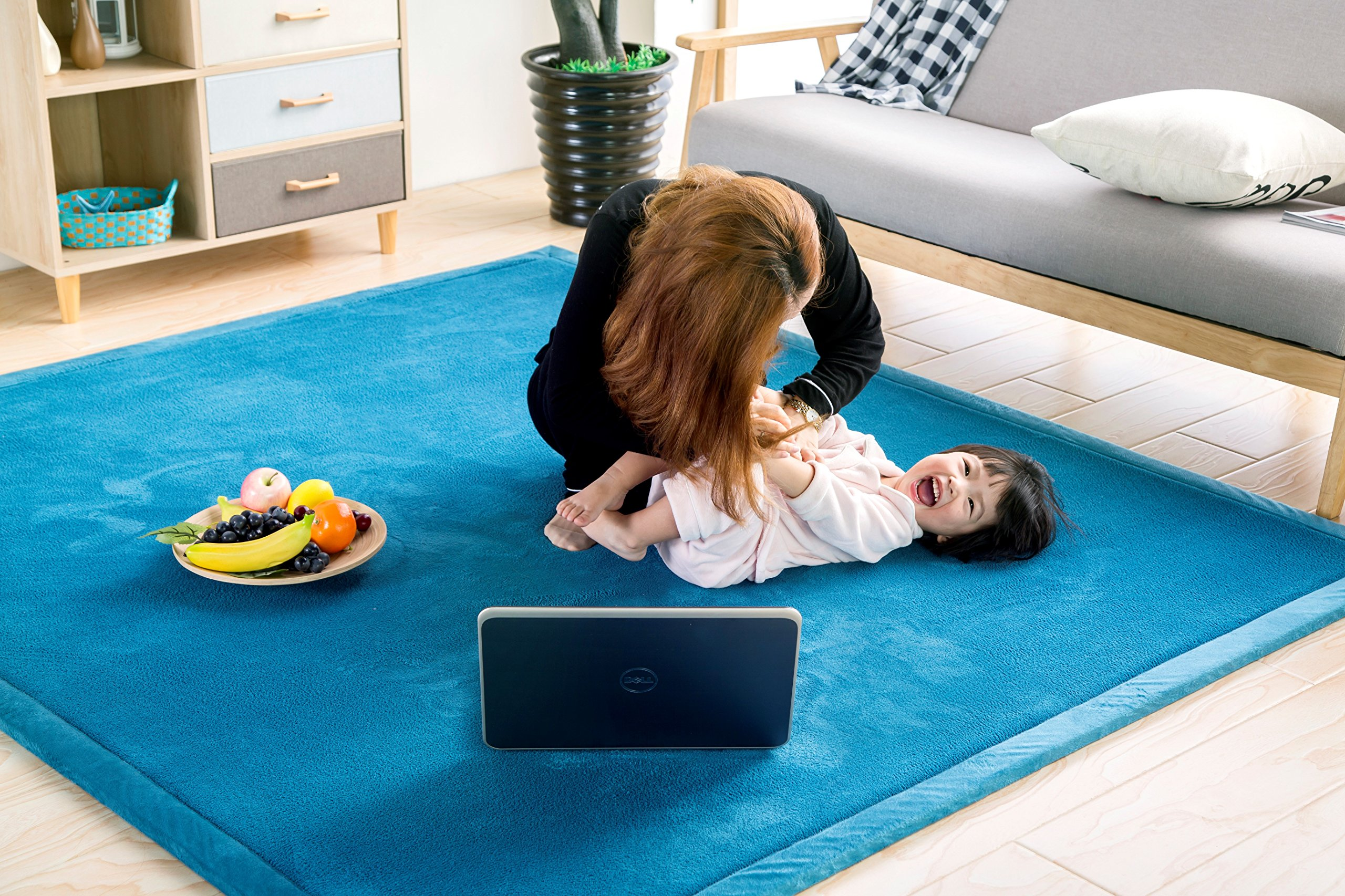 Baby Play Mat, V-mix Handmade weaving Plush Foam Play Crawling Rugs for Baby, Toddler, Children, Yoga Mat, Exercise Mat Cushy-Soft & Thick Hypoallergenic, Non-toxic, Reversible …