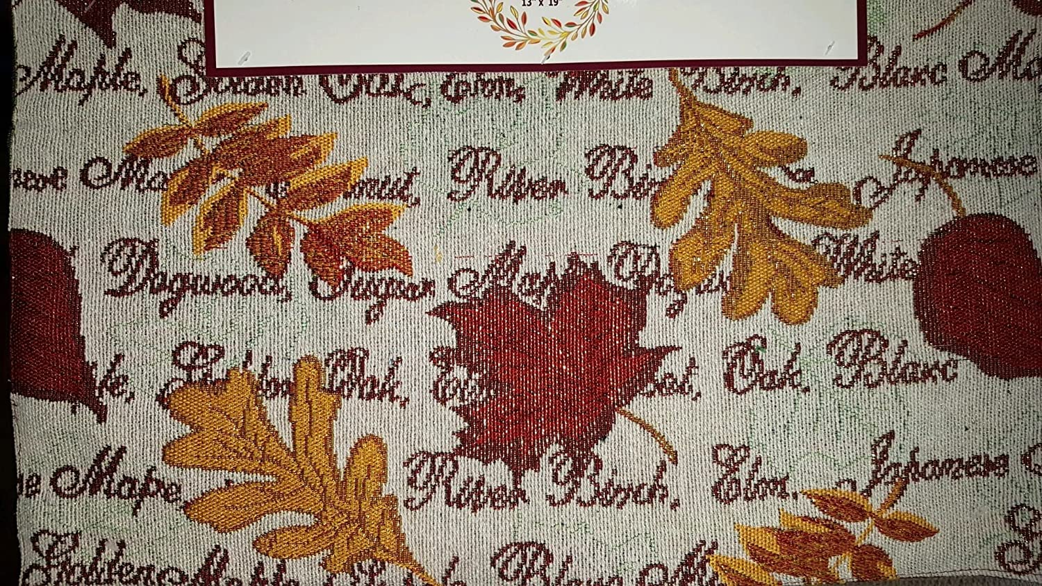 "Set of 4 Autumn Fall Leaves Tapestry Place Mat 13/"" x 19/"""