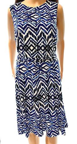 Lauren Ralph Lauren Womens Printed Jersey Sheath Dress Blue 12