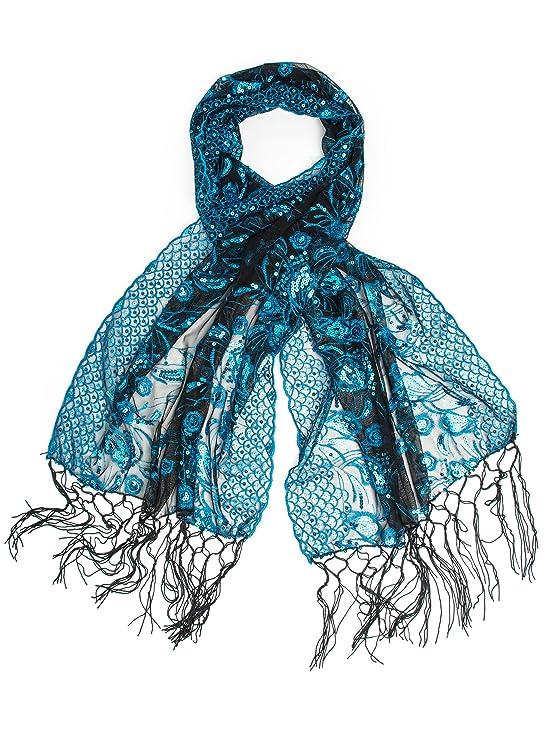 Shawls & Wraps | Vintage Lace & Fur Evening Scarves Bohomonde Amaryllis Shawl Sequin Evening Wrap Embroidered Sequin Shawl $16.95 AT vintagedancer.com