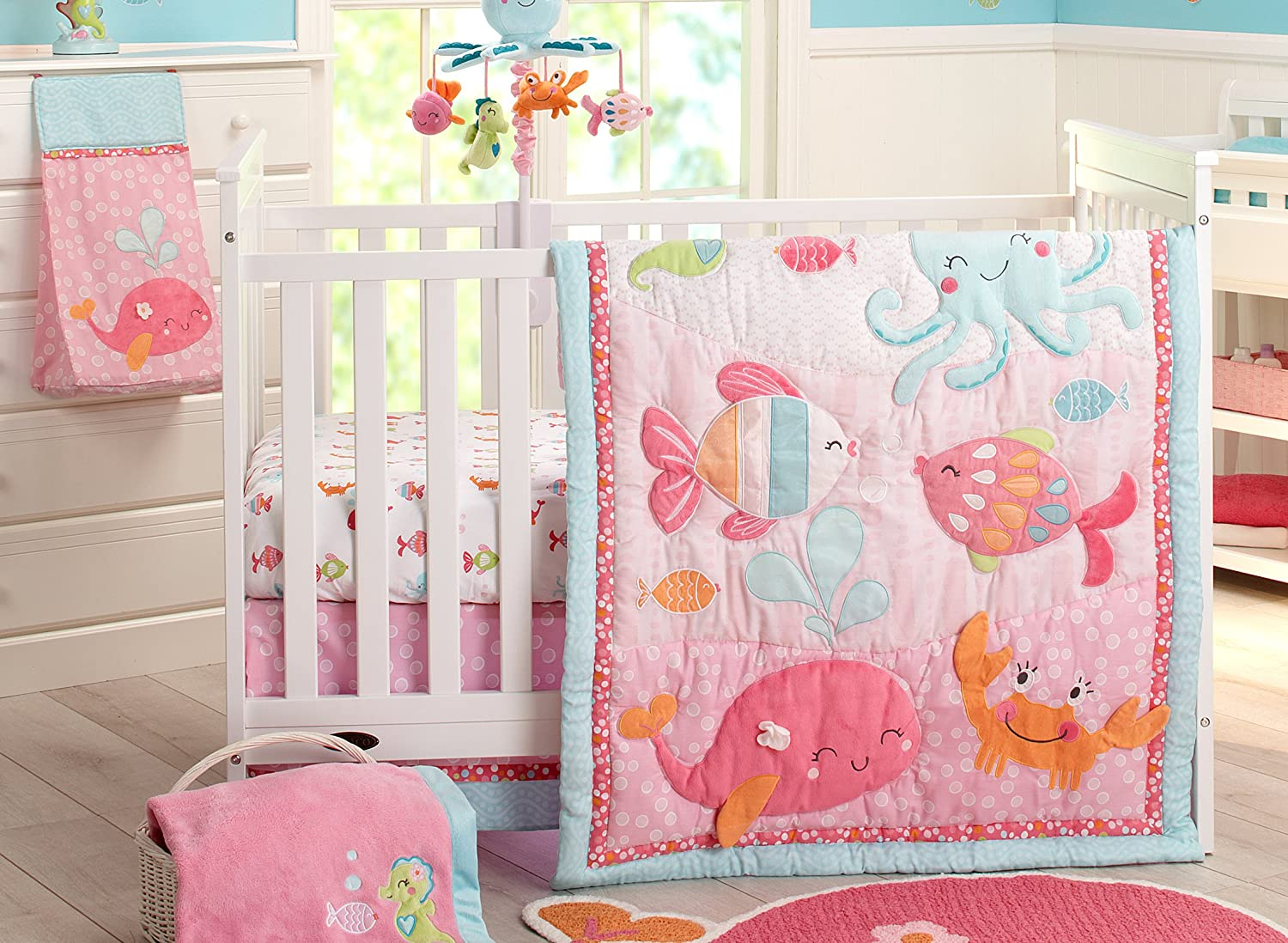 Carter's Sea Collection 4 Piece Crib Set, Pink/Blue/Turquoise by Carter's   B00OK127P6