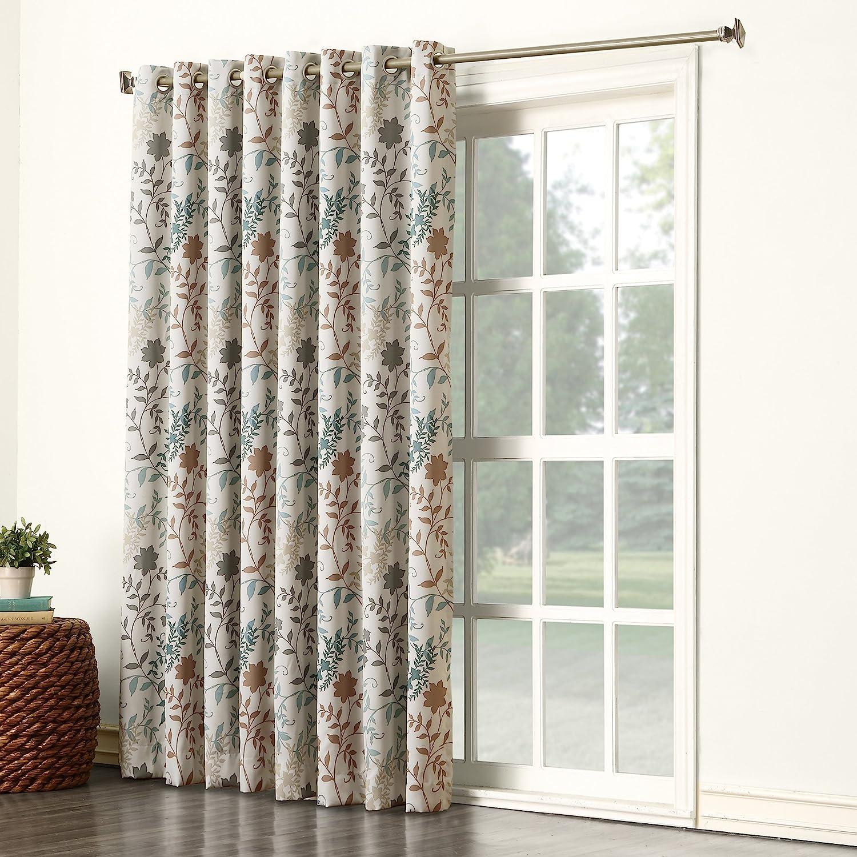 Sun Zero Kara Floral Print Energy Efficient Grommet Patio Door Curtain Panel 100 X 84 Stone Gray Home Kitchen