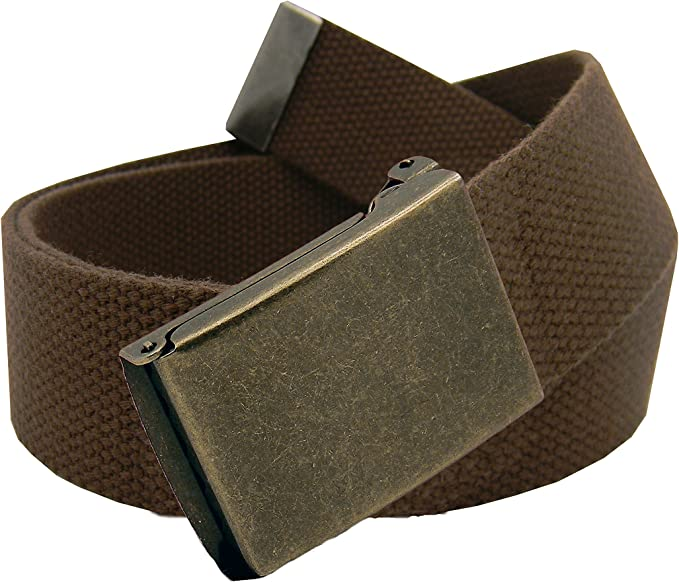 Everyday Plain Retro Canvas Webbing Belt with Silver Buckle White 115 cm