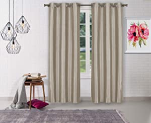 Home Maison Sydneyann Solid Window Curtain, 38x84 (2 Pieces), Taupe