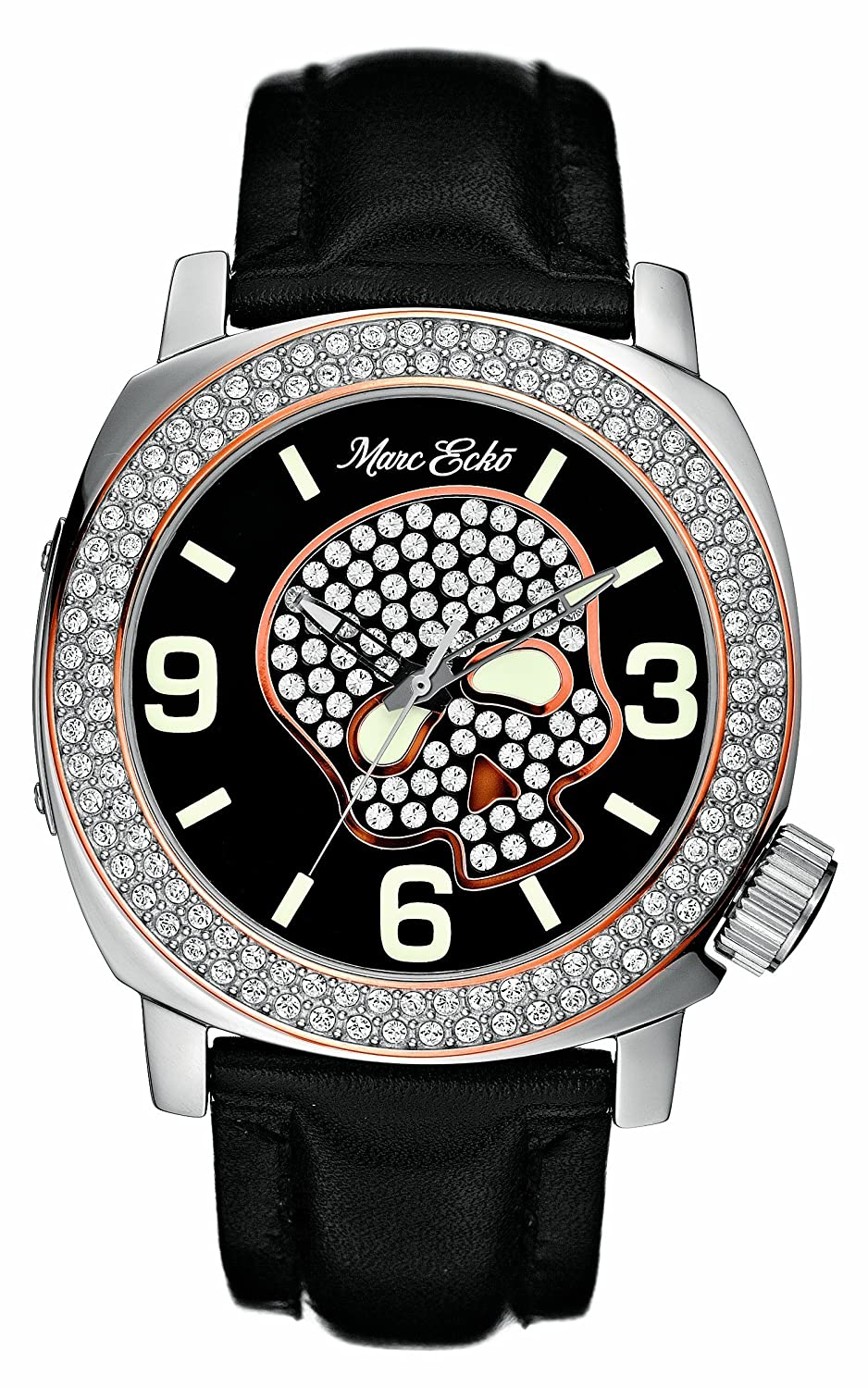 c0e942bdd3 Amazon.com: Marc Ecko Men's E13524G1 Black Leather Skull Face Watch: Marc  Ecko: Watches