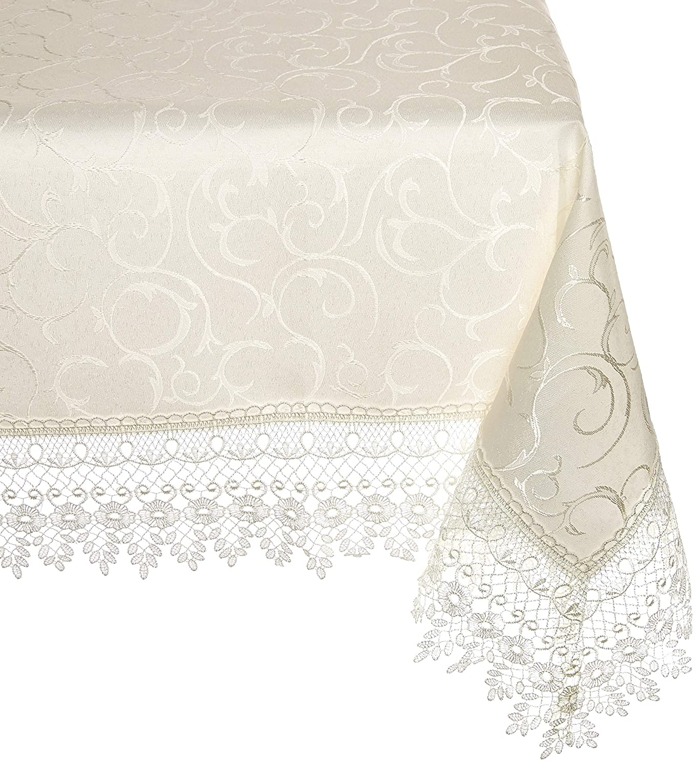 Rectangular 70 X 160 HomeCrate Flower Bow Vintage Lace Design Table Cloths White 70 X 160 VL-FlowerBowTablecloth-70068-WH-9